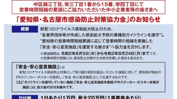 愛知県・名古屋市感染防止対策協力金の申請手続き