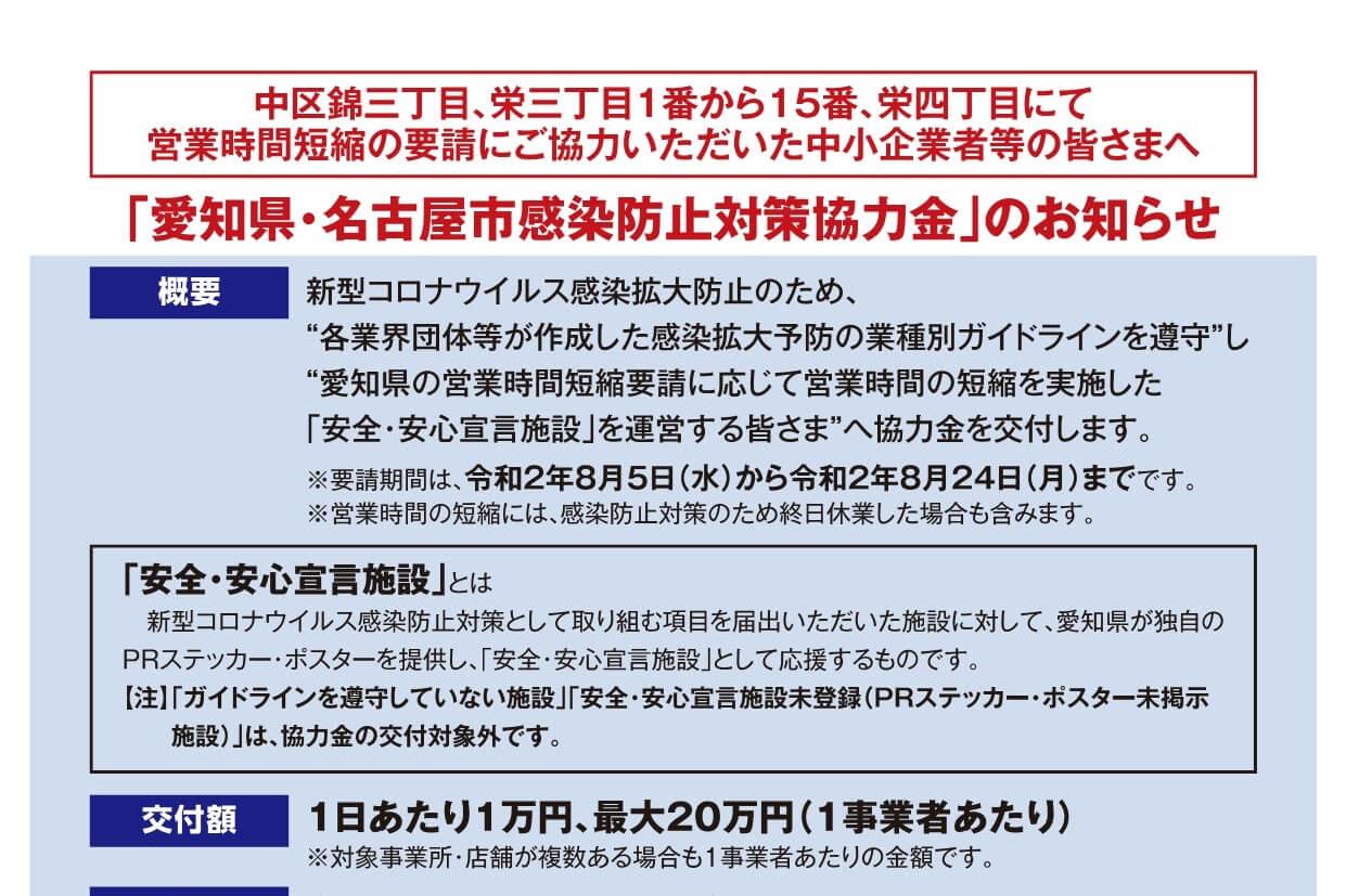愛知県・名古屋市感染防止対策協力金